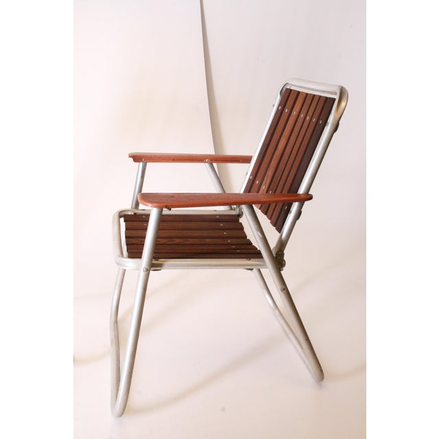 Brown Mid Century Redwood Aluminum Folding Patio Chairs - A Pair For Sale - Image 8 of 11