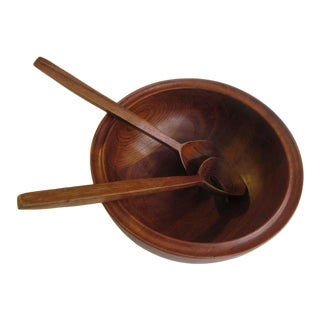 Henning Koppel for Georg Jensen Teak Salad Bowl and Servers