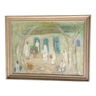 Vintage Mid-Century Arab Women Framed Oil Painting For Sale