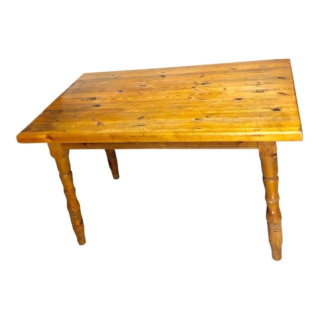 Vintage Farmhouse Small Pine Table /Island For Sale