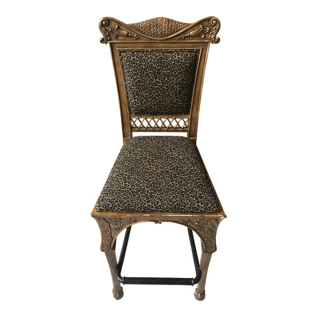 Maitland Smith Cheetah Print Bar Stool - Image 1 of 6