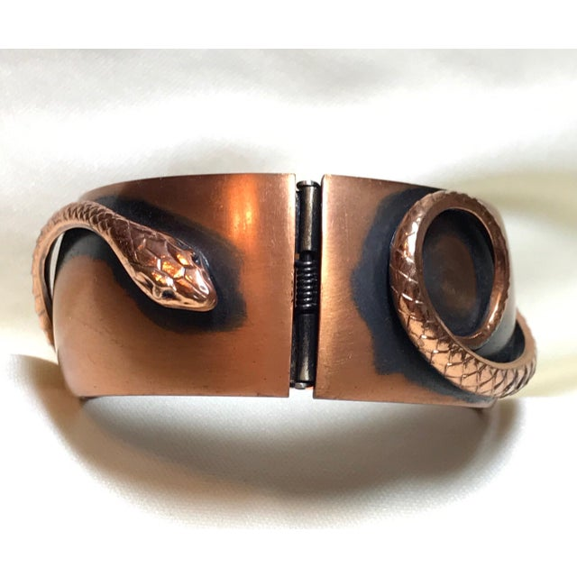 Contemporary Whiting & Davis Mid-Century Copper Snake Hinged Bangle For Sale - Image 3 of 7