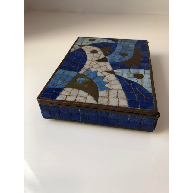 Brass 1960s Vintage Salvador Teran Mexican Modernist Brass and Glass Mosaic Box For Sale - Image 7 of 11