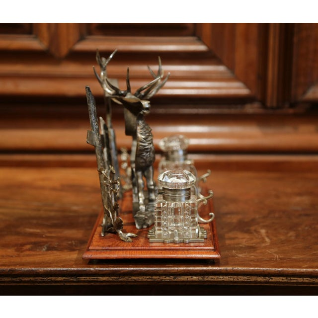 Glass Mid 20th Century French Spelter and Cut Glass Inkwell With Deer Sculpture For Sale - Image 7 of 10