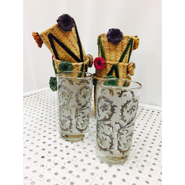 Vintage Woven Grass Cocktail Glass Holders - Set of 6 - Image 9 of 11