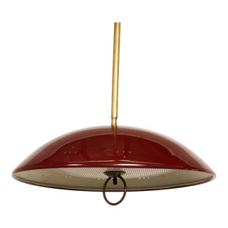 1960s Lightolier Style Atomic Modern Perforated Red Saucer Dish Pendant Light For Sale