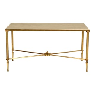 French Mid-Century Modern Brass Coffee Table For Sale
