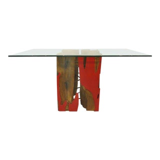 Brazilian Reclaimed Sculptural Guaranta Wood Table Base by Valeria Totti For Sale