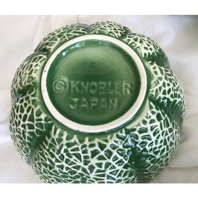 Ceramic Vintage Knobler Japan Melon Cantaloupe Serving Bowl & 8 Matching Bowls For Sale - Image 7 of 11