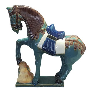 Monumental Vintage Ceramic Chinese Tang War Horse Sculpture - Signed - Asian Mid Century Modern Boho Chic Bohemian