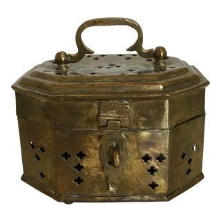 Vintage Mid-Century Octagonal Brass Cricket Box For Sale