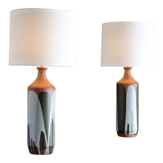 """David Cressey Large """"Flame Glaze"""" Ceramic Lamps - a Pair For Sale"""