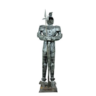Vintage Medieval Tin Guard Knight Sculpture For Sale