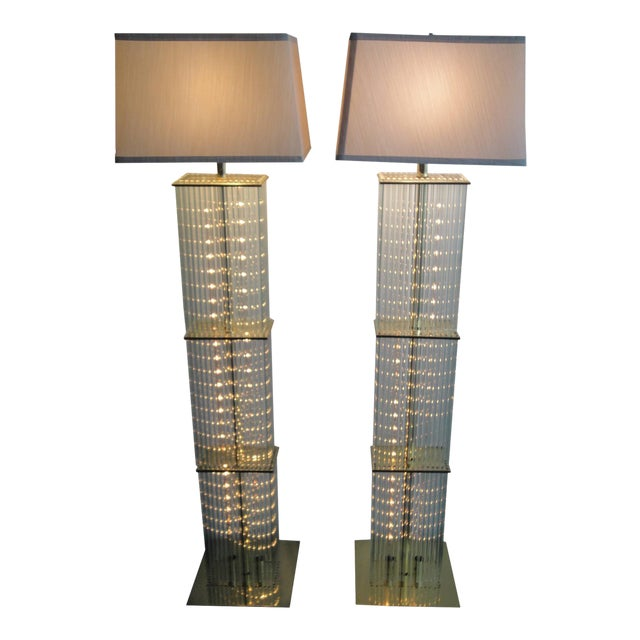 Pair of Sciolari Brass and Glass Floor Lamps for Lightolier - Image 1 of 9