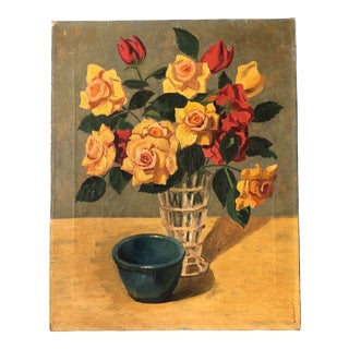 Original Mid Century Still Life Roses With Bowl Painting For Sale