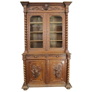 Buffet Hunting Renaissance Antique 1880 Carved For Sale