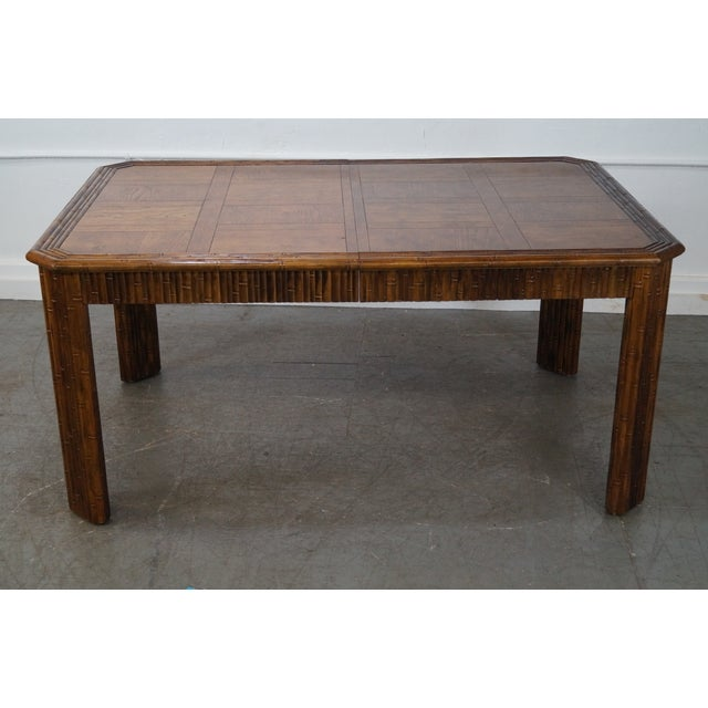 Faux Bamboo Parquet Top Extension Dining Table For Sale In Philadelphia - Image 6 of 10