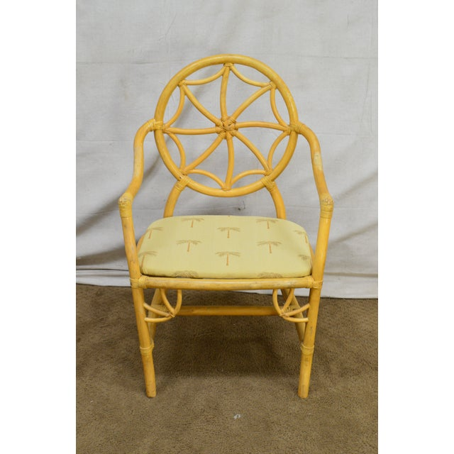 Wood McGuire Style Vintage Rattan Bamboo Spider Back Dining Chairs - Set of 8 For Sale - Image 7 of 13