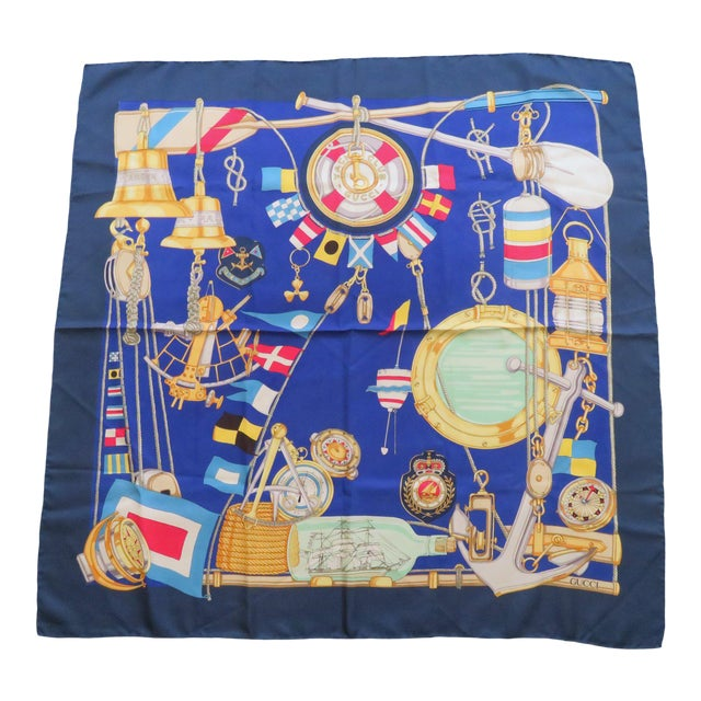 Vintage Gucci Nautical Silk Scarf For Sale