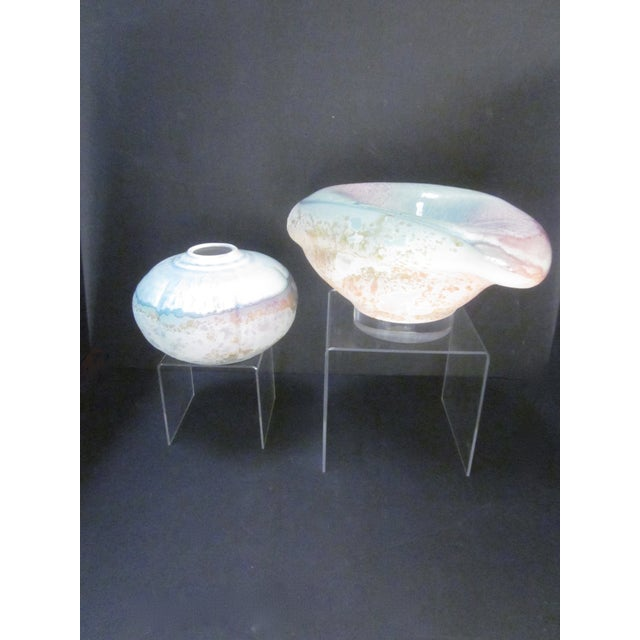 Lucite Sculpture Ceramic Raku Pottery Tony Evans - Image 10 of 11