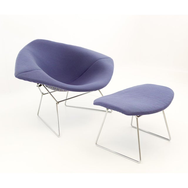 Vintage Mid-Century Harry Bertoia for Knoll Diamond Rocking Chair & Ottoman - 2 Pieces For Sale - Image 13 of 13