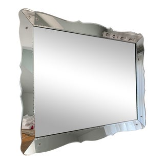 1940s Venetian Mirror With Scalloped Frame For Sale