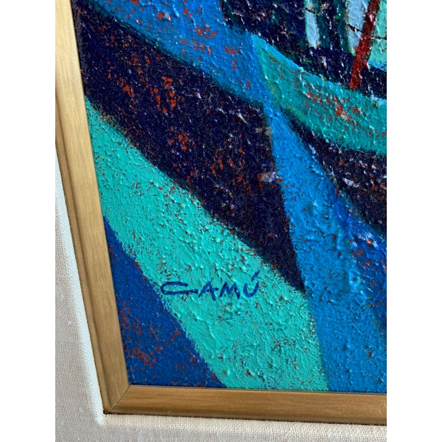 1970s Vintage Camú Spinnakers Original Signed Oil Painting For Sale In Tampa - Image 6 of 7