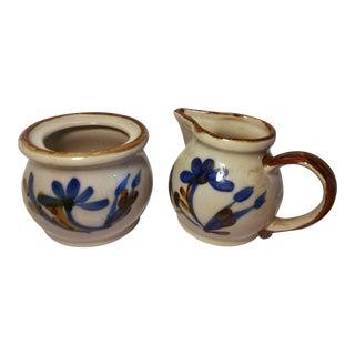 Vintage Stoneware Brown Drip Glaze Sugar & Creamer - 2 Pc.