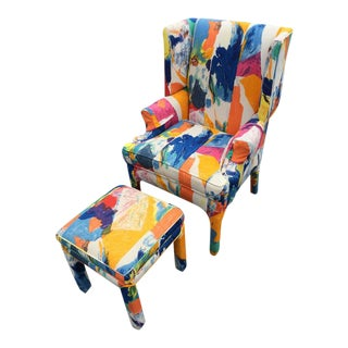 Mid-Century Wing Back Chair & Ottoman
