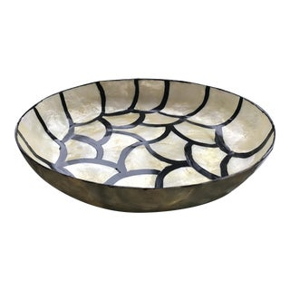 Graphic Hand Painted Mother of Pearl Trinket Bowl