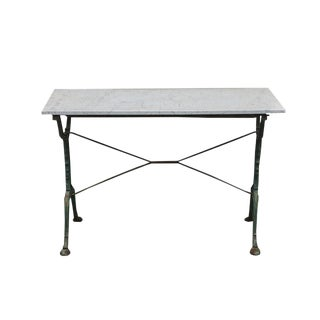 Late 19th Century French Cast Iron Cafe Table With Marble Top For Sale