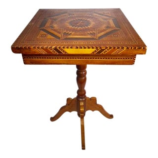 1900s English Traditional Tunbridge Marquetry Table For Sale