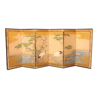 Japanese Four Panel Screen Calligraphy Birds Landscape Blue Gold Black Summer Cranes Water Antique Vintage 2 For Sale