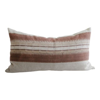 Vintage Hand Made Tribal Block Linen King Size Lumbar Pillow For Sale