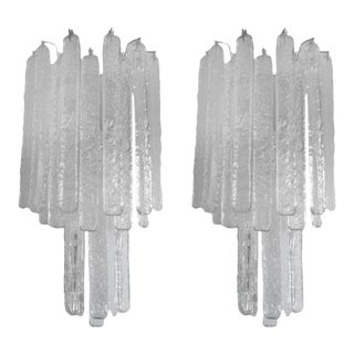 Mid-Century Italian Venini Style Murano Glass Icicle Sconces-Pair For Sale