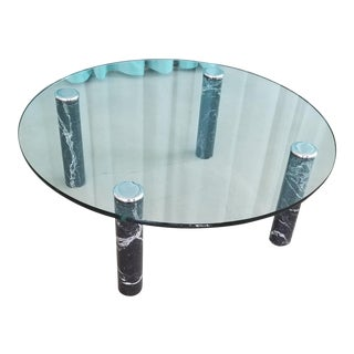 Pace Collection 1970's Glass Coffee Table with Black Marble and Chrome Legs For Sale