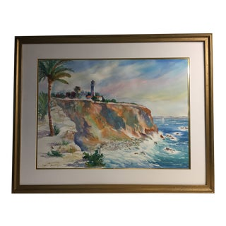 "Kathryn Stinis Framed Original Watercolor ""Pt. Vicente Lighthouse"" For Sale"