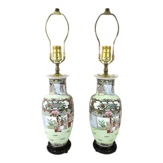 Mid 20th Century Vintage Famille Rose Porcelain Chinese Table Lamps - a Pair For Sale