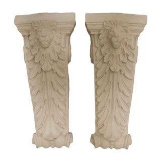 Pair of Carved Lion Concrete Sconces