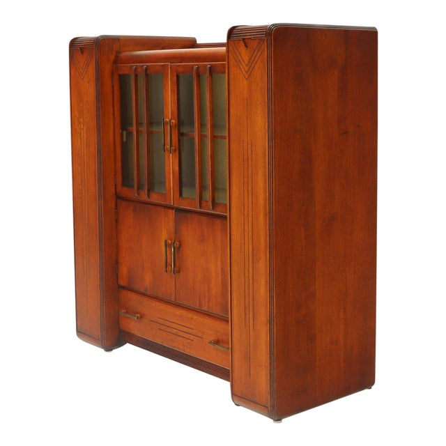 Art Deco Waterfall Lift Top Compartments Bar Storage Sideboard Cabinet Bookcase For Sale