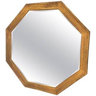 Octagonal Italian Giltwood Mirror For Sale