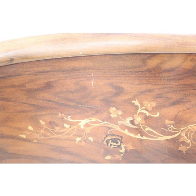 20th Century Italian Design Art Deco Inlaid Wood Double Bed For Sale - Image 11 of 12