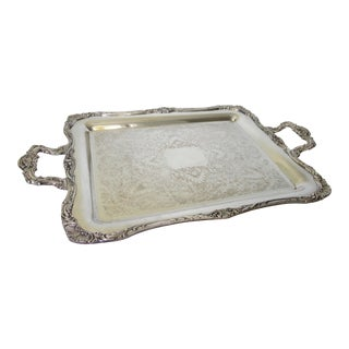 C.1950s Vintage Silver Plate Over Copper Orante Shell Motif Serving Tray For Sale