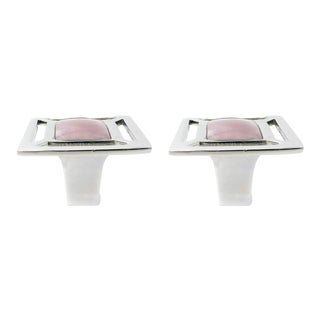 Addison Weeks Evans Knob, Nickel & Rose Quartz - a Pair For Sale