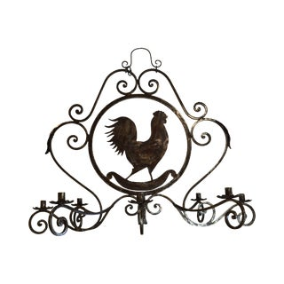 Custom Hand Forged Iron Rooster Candle Chandelier For Sale