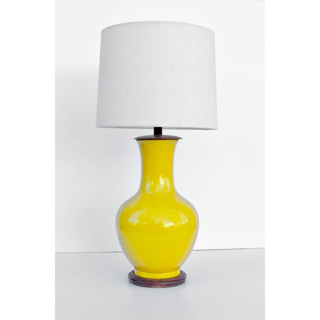 Beautiful Vibrant Acid Yellow Ceramic Lamp from Japan made in the 1970's.