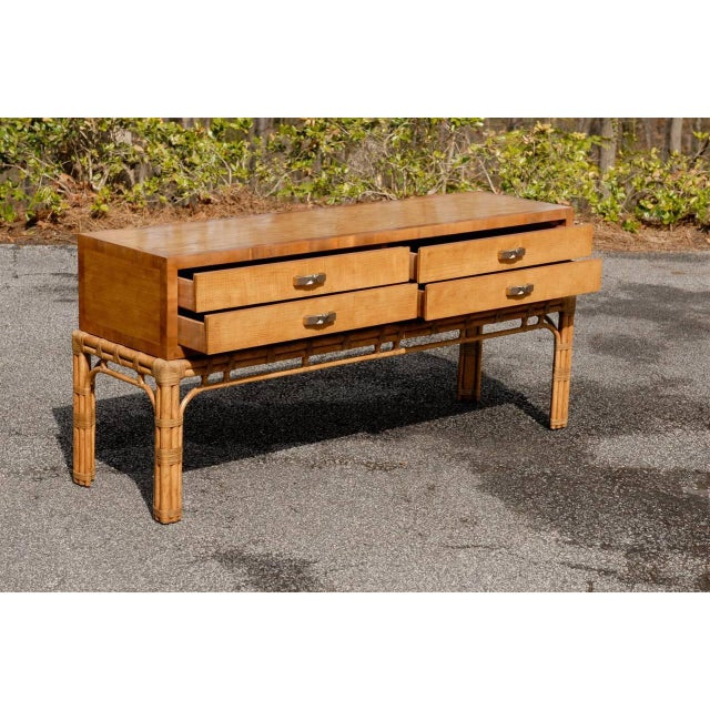 1970s Stunning Vintage Henredon Console on Rattan Base For Sale - Image 5 of 11