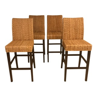 Woven Rattan Bar Stools - Set of 4 For Sale