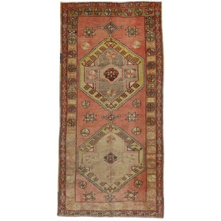 Vintage Turkish Oushak Carpet Runner with Muted Colors