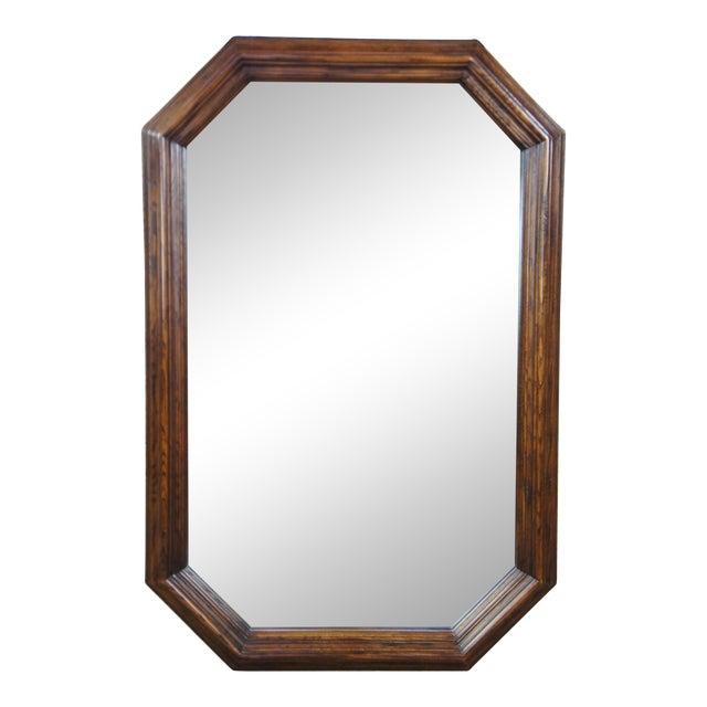 "1979 Henredon Oak Octogon Shaped Traditional Vanity Dresser Wall Mirror 48"" For Sale"